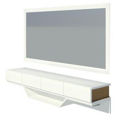 2K1M Grooves Entryway Mirror and Storage, High Gloss Lacquer and Oak Finish