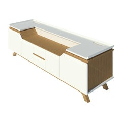 2K1M Grooves Sideboard, Entertainment Unit, High Gloss Lacquer and Oak Finish