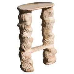 2Legs BarStool, Carved Wooden Stool