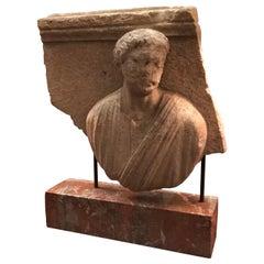 2nd Century Italian Stone Sculpture Roman Relief Aristocrat Mounted Antiques LA