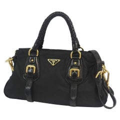 2WAY shoulder  Womens  handbag  black Leather