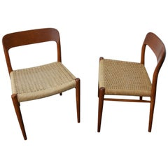 2 Chairs by Niels O. Møller Modell 75 Teak and Paper Cord, Denmark, 1960s