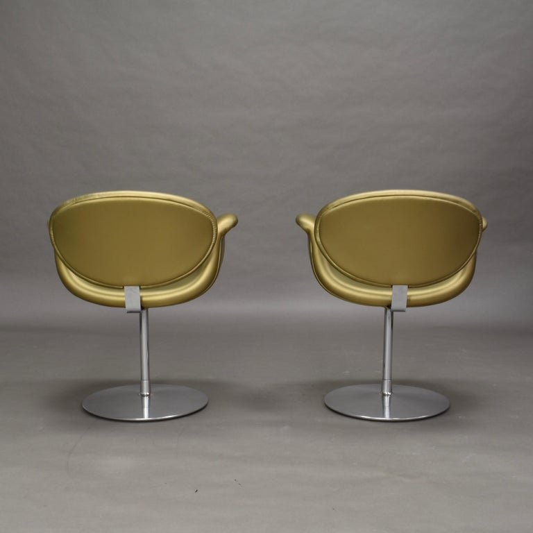 Faux Leather 2 Limited Edition Pierre Paulin Tulip Swivel Armchairs for Artifort, 1965 For Sale