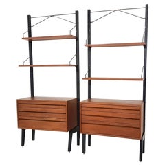 2x Poul Cadovius Wall Unit, Shelving System or Bookcase in Teak, Denmark, 1950s