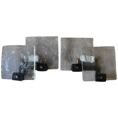 2x Ultra Brutalist Frosted Iced Glass Hand Forged Wall Lamps