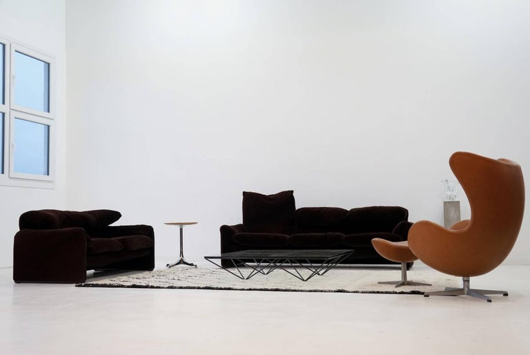 Modern Three and Two-Seat Maralunga for Cassina, Design Function Canapé Couch For Sale