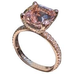 3 1/2 Carat 14 Karat Rose Gold Cushion Morganite Hidden Halo Engagement Ring
