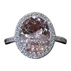 3 1/2 Carat 14 Karat White Gold Oval Morganite Diamonds Haloe Engagement Ring