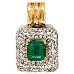 3 1/2 Carat Colombian Emerald and Diamond Pendant