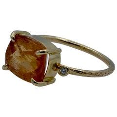 3 1/2 Carat Topaz Set in 14 Karat Gold with Diamond Accents Ring