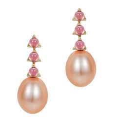 3- 3 mm Stone Baroque Pink Pearl Earrings, Pink Tourmaline, 18 karat yellow gold