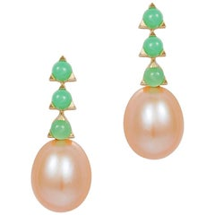 3- 3mm Stone Baroque Pink Pearl Earrings, Green Chrysoprase, 18 k yellow gold