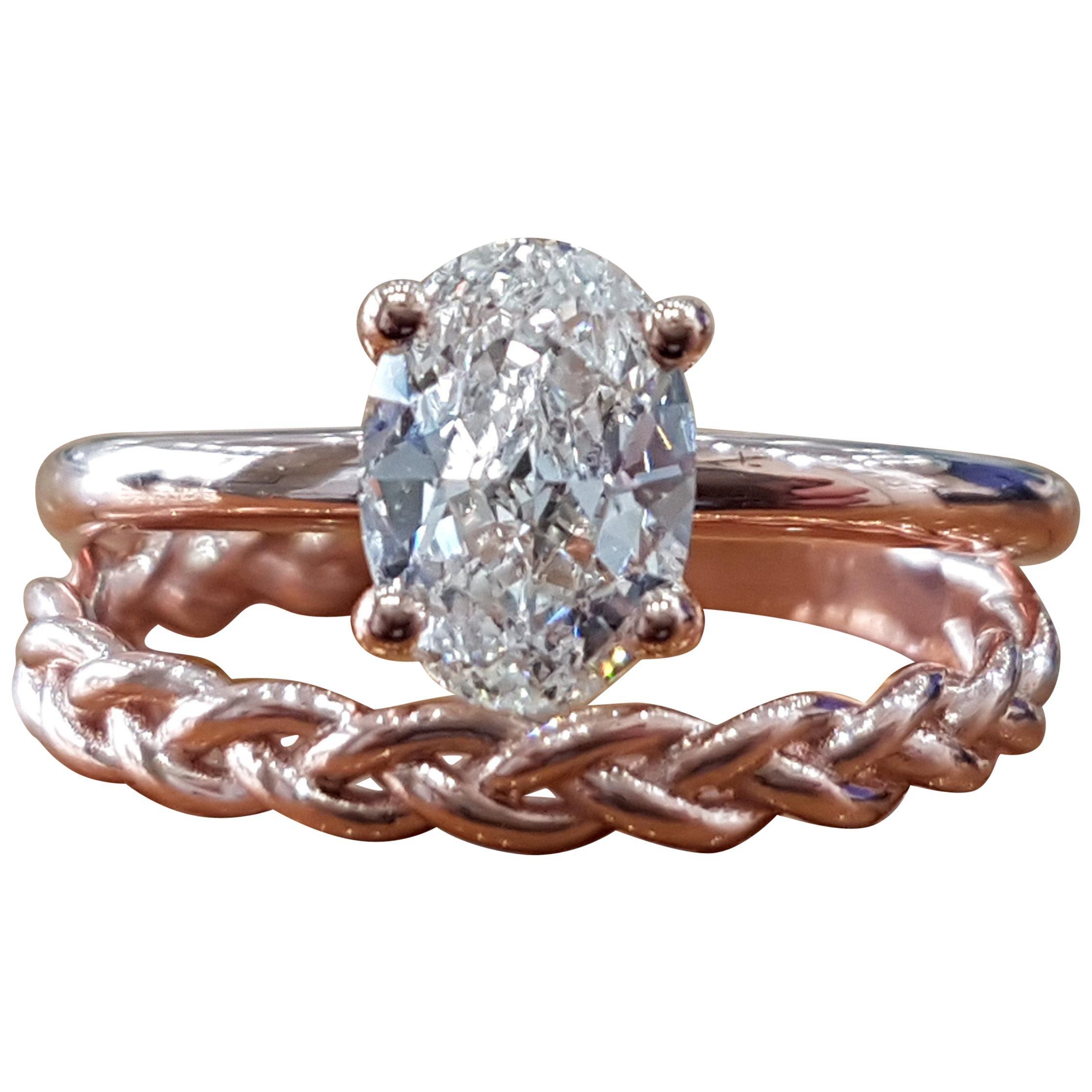 3/4 Carat 14 Karat Rose Gold Oval Engagement Ring, Oval Engagement Ring Set