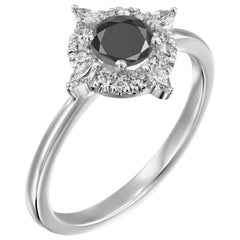 3/4 Carat 14 Karat White Gold Certified Round Black Diamond Engagement Ring