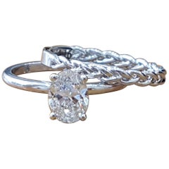 3/4 Carat 14 Karat White Gold Oval Engagement Ring Set