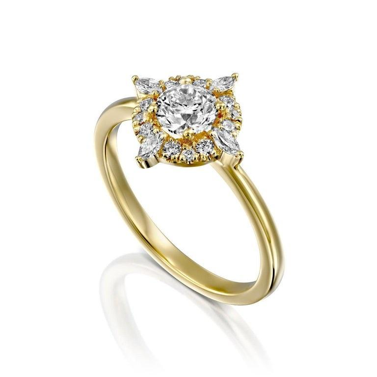 Round Cut 3/4 Carat 14 Karat Yellow Gold Round Diamond Ring, Victorian Diamond Ring For Sale