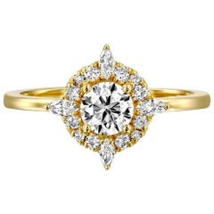 3/4 Carat 14 Karat Yellow Gold Round Diamond Ring, Victorian Diamond Ring
