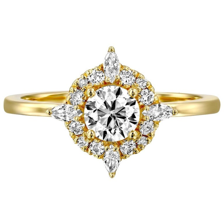 3/4 Carat 14 Karat Yellow Gold Round Diamond Ring, Victorian Diamond Ring For Sale