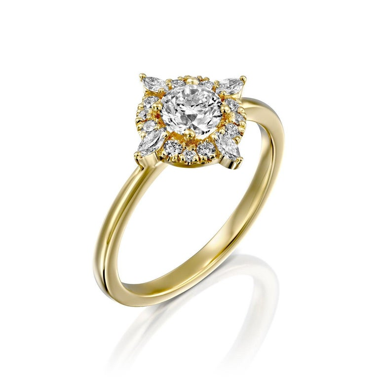 Art Deco 3/4 Carat 14 Karat Yellow Gold Round Diamond Ring, Victorian Diamond Ring For Sale