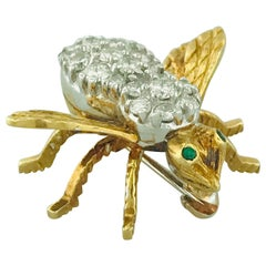 '3/4 Carat' .65 Carat Diamond and Emerald Eye Honey Bee Pin in 18 Karat Gold