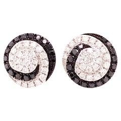 3/4 Carat .75 Carat Black Diamond and White Diamond Earring Studs in 18k Gold