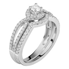 3/4 carat Certified Diamond Engagement Ring & Band 14 Karat White Gold