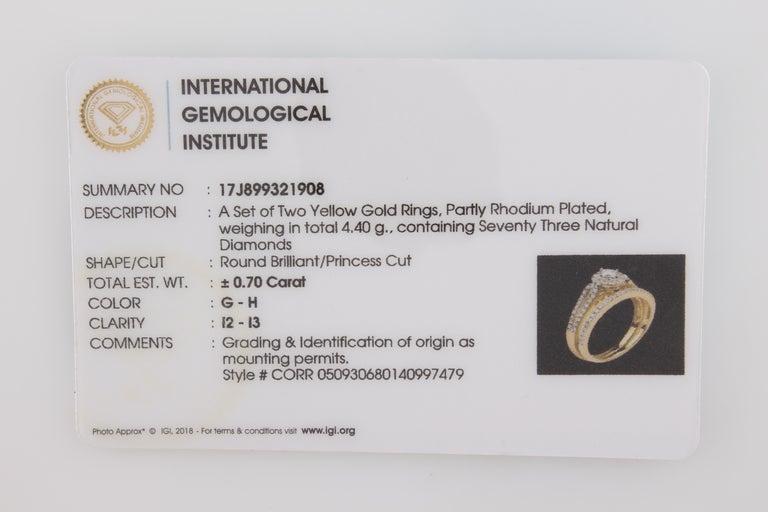 Women's 3/4 Carat Certified Diamond Engagement Ring 14 Karat Yellow Gold For Sale