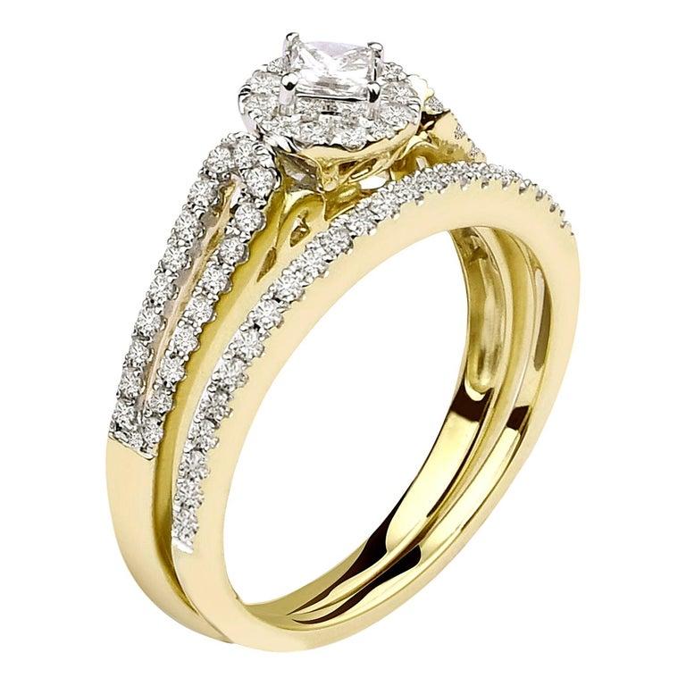 3/4 Carat Certified Diamond Engagement Ring 14 Karat Yellow Gold For Sale
