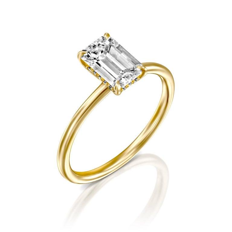 Art Deco 3/4 Carat GIA Diamond Ring, Solitaire Emerald Cut 18 Karat Yellow Gold For Sale