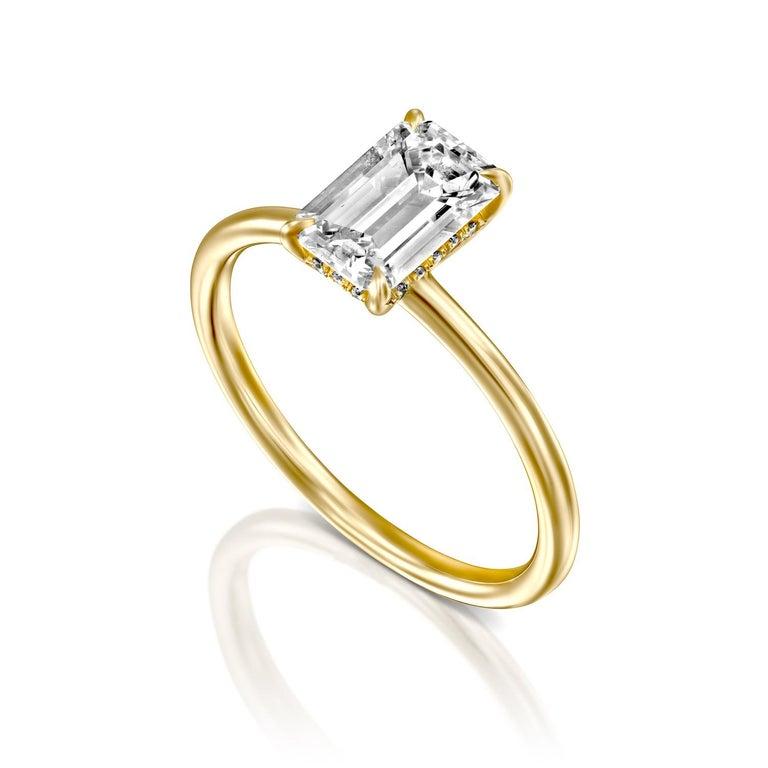 Women's 3/4 Carat GIA Diamond Ring, Solitaire Emerald Cut 18 Karat Yellow Gold For Sale