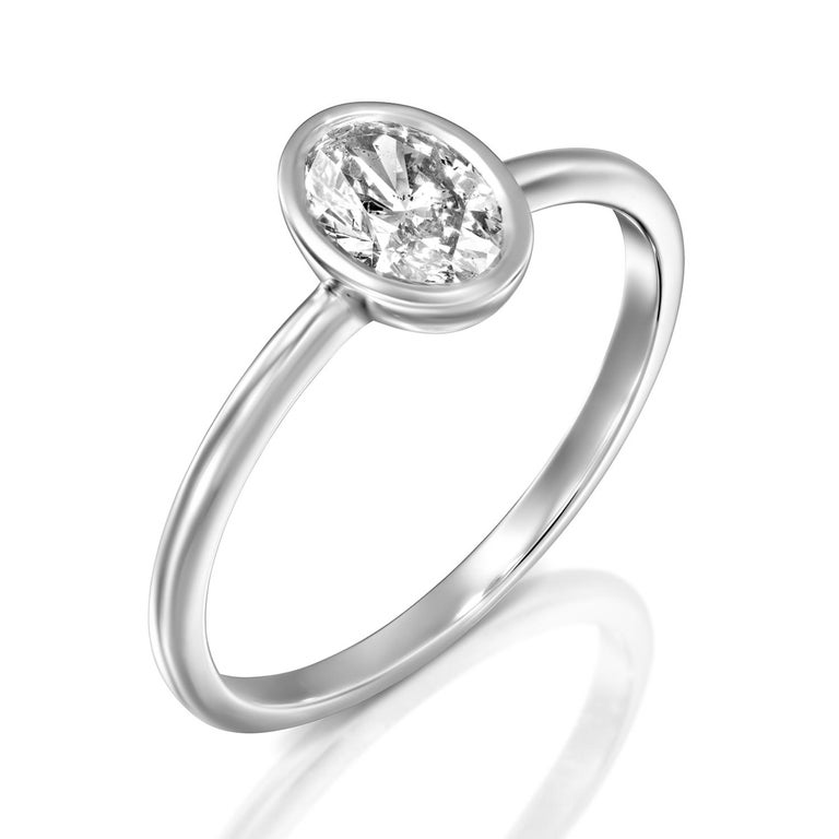 Oval Cut 3/4 Carat GIA Diamond Ring, Solitaire Oval Bezel 18 Karat White Gold Ring For Sale