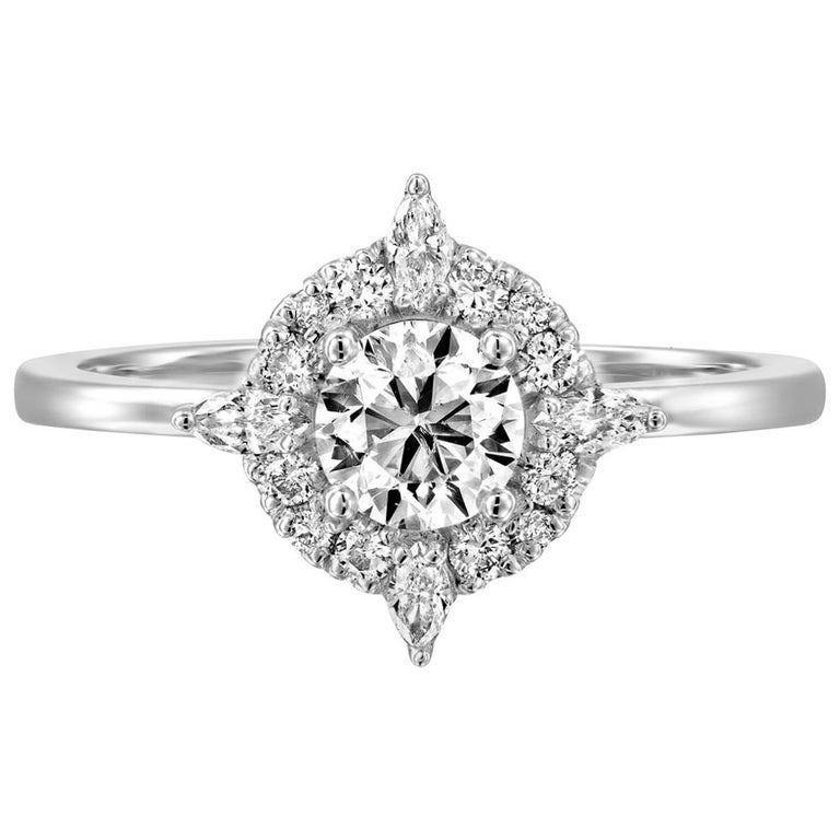 3/4 Carat GIA Diamond Engagement Ring, Vintage Halo 18 Karat White Gold Ring For Sale