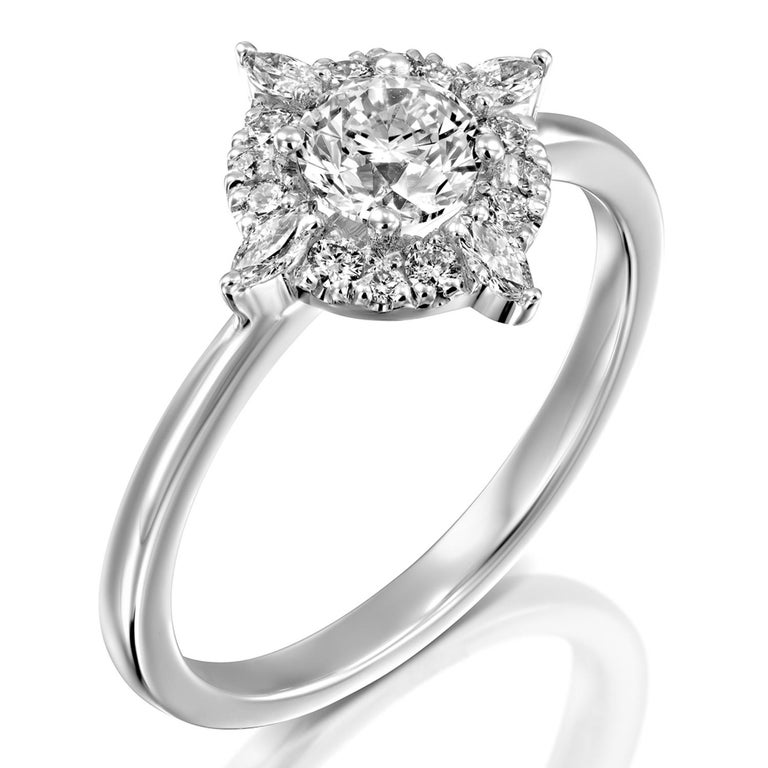 Round Cut 3/4 Carat GIA Diamond Engagement Ring, Vintage Halo 18 Karat White Gold Ring For Sale