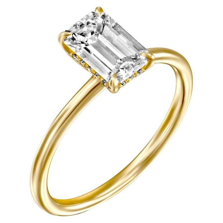 3/4 Carat GIA Diamond Ring, Solitaire Emerald Cut 18 Karat Yellow Gold For Sale