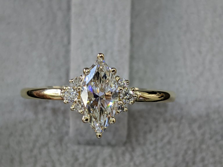 3/4 Carat Marquise Diamond Ring, Marquise Cut Engagement Ring, Marquise Engagement Ring, Victorian Engagement Ring, Victorian Diamond Ring    Main Stone Name: Natural Earth Mined Diamond   Main Stone Weight: 0.70 ct.  Main Stone Clarity: SI1  Main