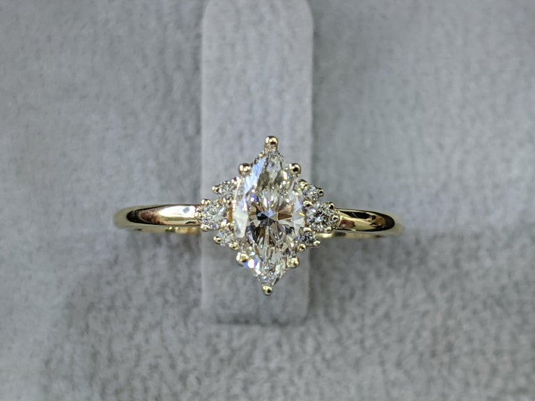Art Deco 3/4 Carat Marquise Diamond Ring, Marquise Cut Engagement Ring For Sale