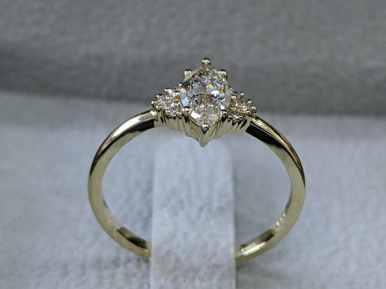 3/4 Carat Marquise Diamond Ring, Marquise Cut Engagement Ring In New Condition For Sale In New York, NY