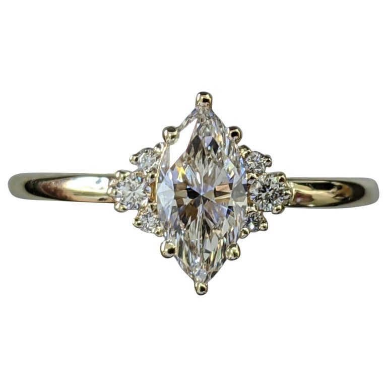 3/4 Carat Marquise Diamond Ring, Marquise Cut Engagement Ring For Sale