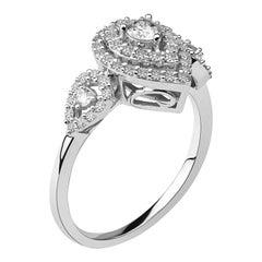 3/4 Carat Set of 2 Certified Diamond Engagement Ring/Band in 14 Karat White Gold