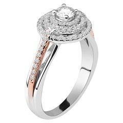3/4 Carat Triple Halo Certified Diamond Ring in 14 Karat