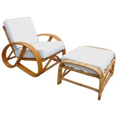 Restored 3/4 Round Pretzel Rattan Lounge Chair with Ottoman