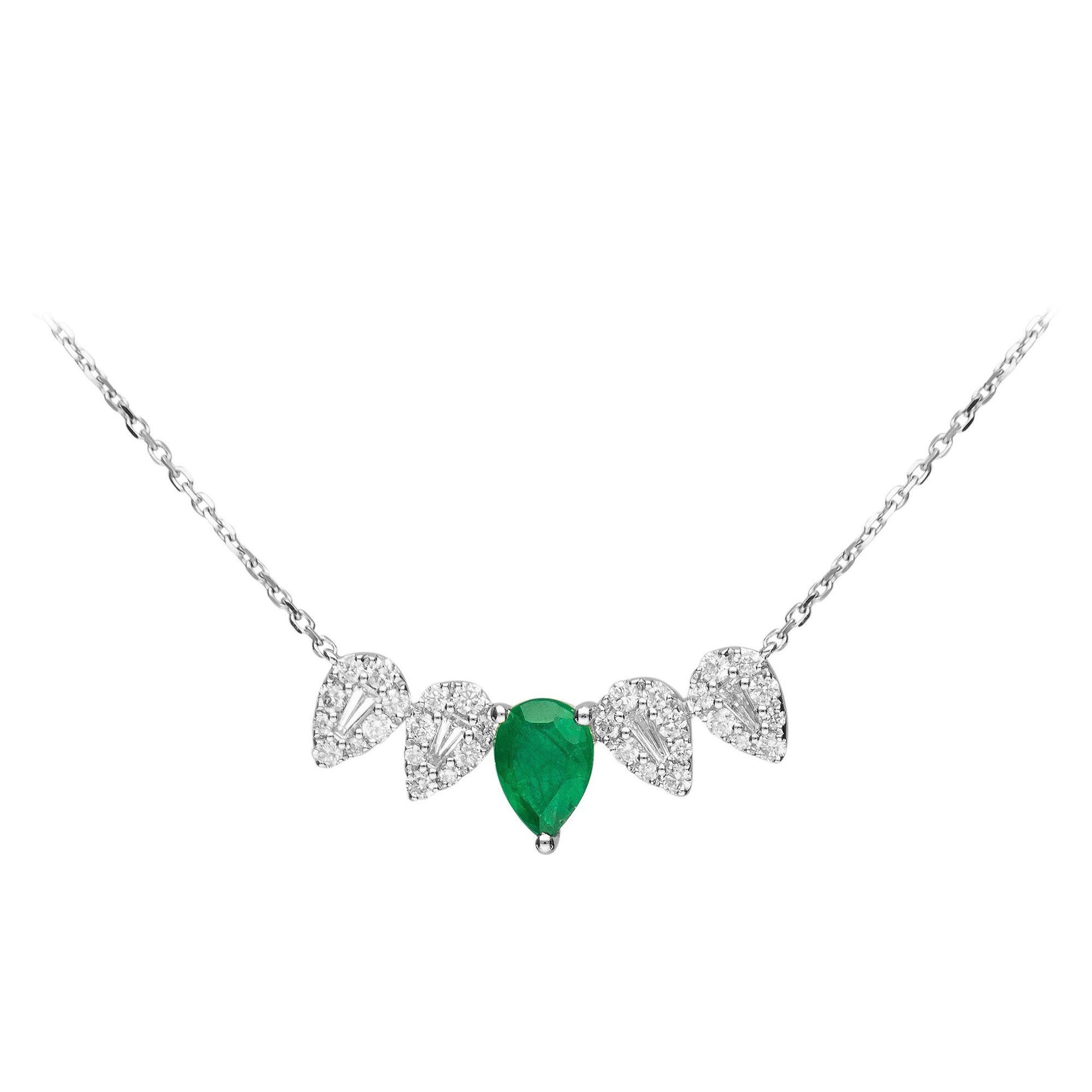 3/5 Carat Emerald 18k White Gold Necklace