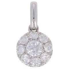 3/8 Carat Round Brilliant Diamond Pendant, 14 Karat White Gold Cluster Halo