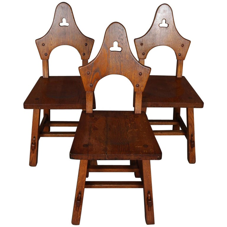 3 Antique Arts & Crafts Limbert Mission Oak Dining Chairs, circa 1910 For  Sale - 3 Antique Arts And Crafts Limbert Mission Oak Dining Chairs, Circa