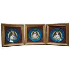 3 Antique Victoria Austria Transferware China Renaissance Portrait Plates