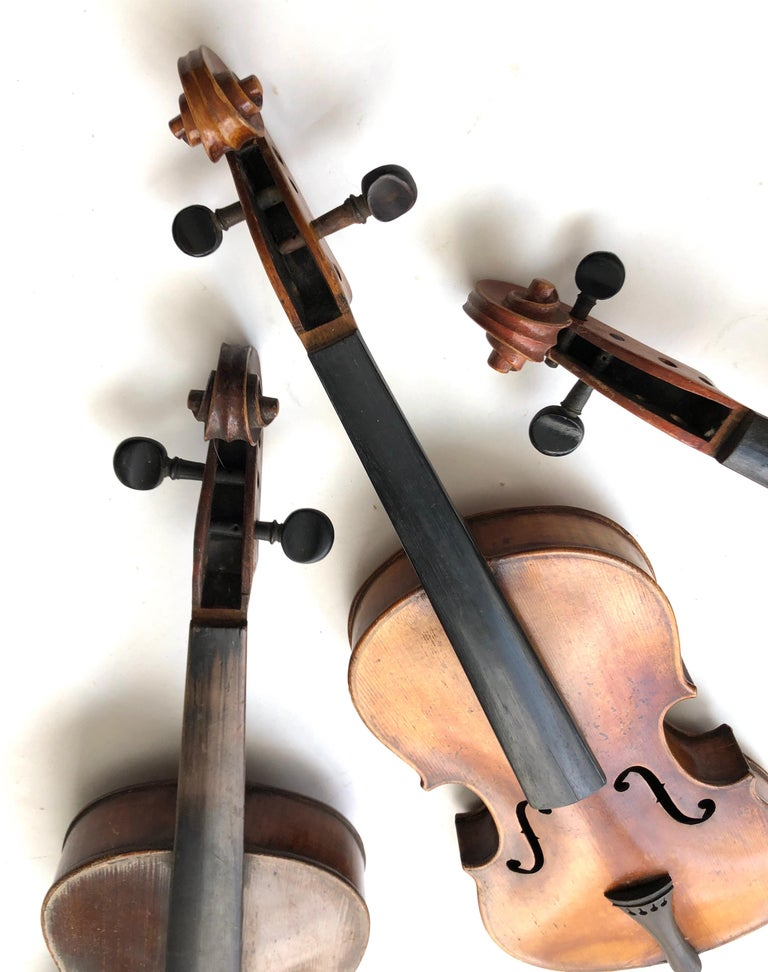 3 Antique Violins In Fair Condition For Sale In Stamford, CT