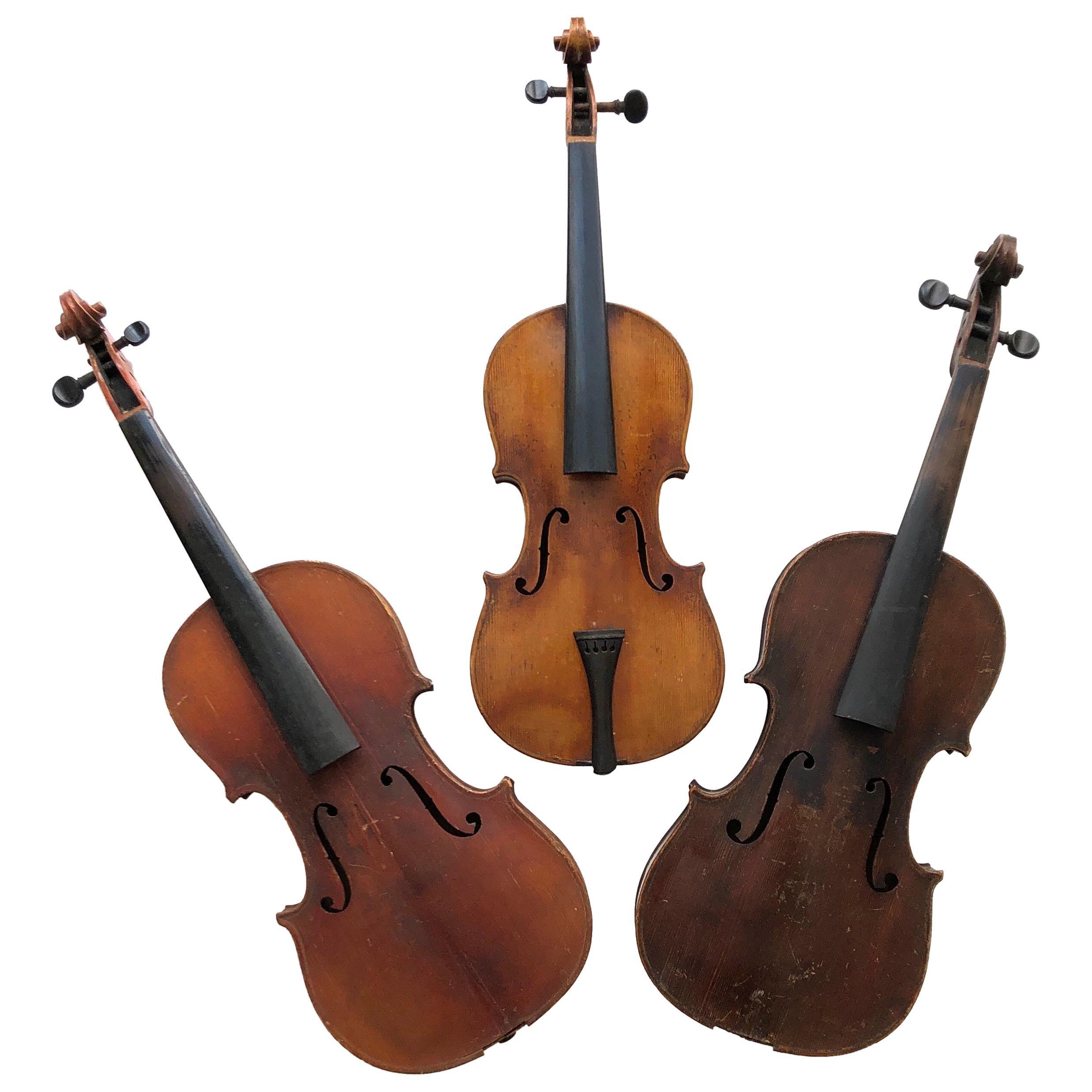 3 Antique Violins