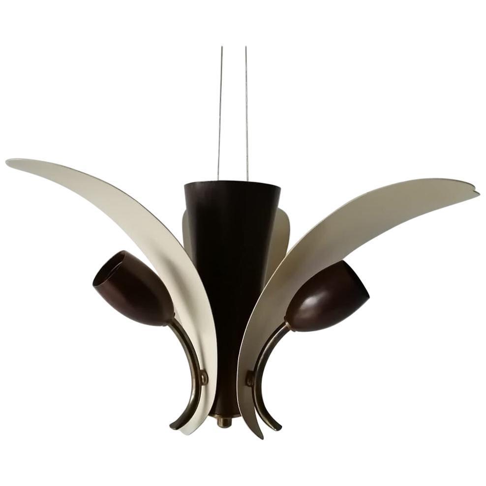 3 Armed White & Brown Flower Design Sputnik Ceiling Lamp, 1950s, Germany