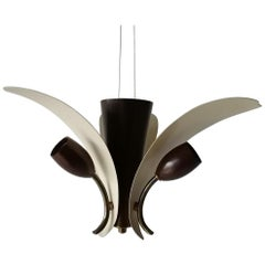 3 Armed White & Brown Flower Design Sputnik Ceiling Lamp, 1950s, Germany