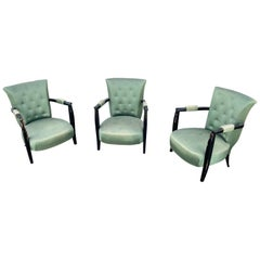 3 Art Deco Armchairs in Blackened Wood, circa 1940
